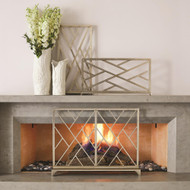 Global Views Chinoise Fret Fireplace Screen - Nickel
