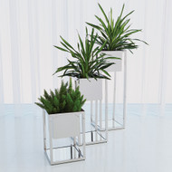 Global Views Escher Pedestal/Planter - Nickel - Sm