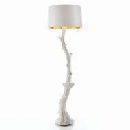 Global Views Faux Bois Floor Lamp - White