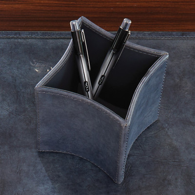 Global Views Folded Leather Pencil Cup - Blue Wash