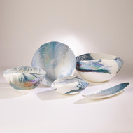 Global Views Ivory Turquoise Feather Swirl Oval Bowl - Lg