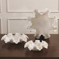 Global Views Marble Ruffle Bowl - White - Lg