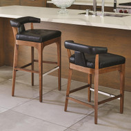 Global Views Moderno Bar Stool - Black Marble Leather