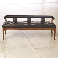 Global Views Moderno Bench - Black Marble Leather