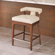 Global Views Moderno Counterstool - Ivory Marble Leather