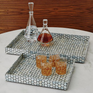 Global Views Mother of Pearl Tray - Black - Lg