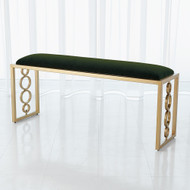 Global Views Progressive Ring Bench - Brass - Emerald Green