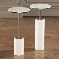 Global Views Short Cored Marble Table - Nickel