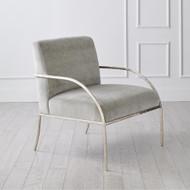 Global Views Swoop Chair - Grey Velvet - Nickel