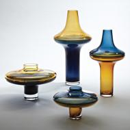 Global Views Tall Cobalt Over Amber Vase - Sm