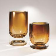 Global Views Thick Cylinder Vase - Amber Tobacco - Sm