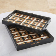 Global Views Triangle Marquetry Tray - Sm