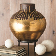 Studio A Anasazi Vessel on Stand - Gold Drops