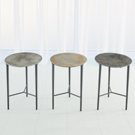 Studio A Circle Etched Accent Table - Antique Brass