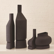 Studio A Flat Back Vase - Black Crust - Med