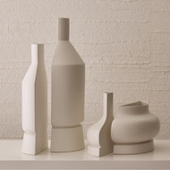Studio A Flat Back Vase - Mate White - Lg