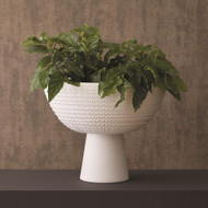 Studio A Florentine Footed Bowl - Matte White