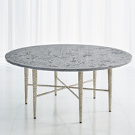 Studio A Hammered Cocktail Table - Antique Nickel w/Grey Marble