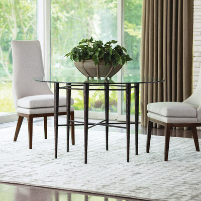 Studio A Hammered Dining Table w/60 Glass Top - Bronze