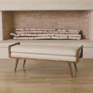 Studio A Lucas Long Bench - Beige Leather