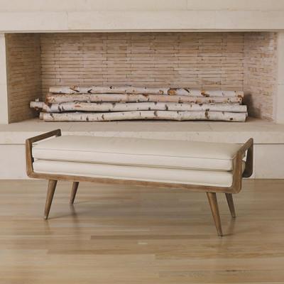 Studio A Lucas Long Bench - Beige Leather