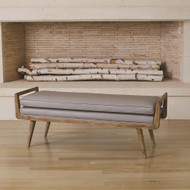 Studio A Lucas Long Bench - Grey Leather