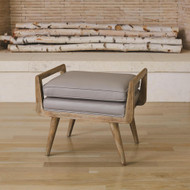 Studio A Lucas Short Bench - Grey Leather