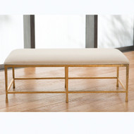 Studio A Quad Pod Bench w/Muslin Cushion - Gold Leaf