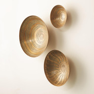 Studio A S/3 Sun Etched Wall Bowls - Antique Brass