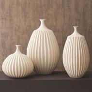 Studio A Sawtooth Vase - Rustic White - Sm