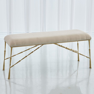 Studio A Spike Bench w/Muslin Cushion - Antique Brass - Lg