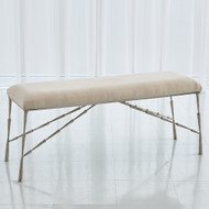 Studio A Spike Bench w/Muslin Cushion - Antique Nickel - Lg