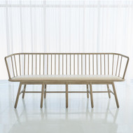 Studio A Spindle Long Bench - Beige Leather