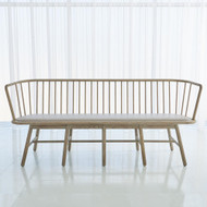 Studio A Spindle Long Bench - Grey Leather