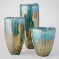 Studio A Tear Drop Folded Vase - Turquoise/Metallic - Lg