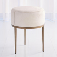 Studio A Urban Stool - Ivory Hair - on - Hide - Antique Brass