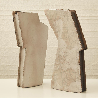 Studio A Wing Sculpture - Raku - Left