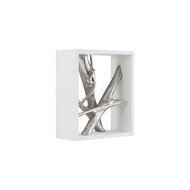 Phillips Collection Framed Branches Wall Tile, White, Silver Leaf