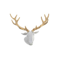 Phillips Collection Stag Deer Head, White, Gold Leaf