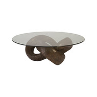 Phillips Collection Trifoil Coffee Table, Bronze w/ Glass