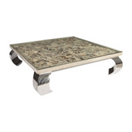 Phillips Collection Shell Coffee Table, Glass Top, Ming Stainless Steel Legs