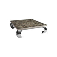 Phillips Collection Shell Coffee Table, w/Glass, Ming SS Legs