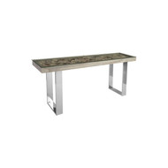 Phillips Collection Shell Console Table, Glass Top, Stainless Steel Legs