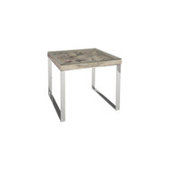 Phillips Collection Shell Side Table, w/Glass, SS Legs