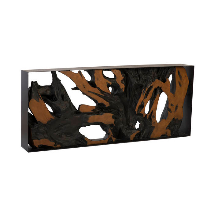 Phillips Collection Cast Root Console Table Iron Frame Resin Brown