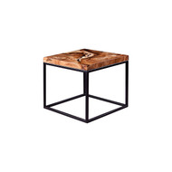 Phillips Collection Martin Side Table, Chamcha Wood, Black Metal Base