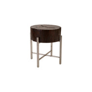 Phillips Collection Black Wood Side Table, Stainless Steel X Cross Leg