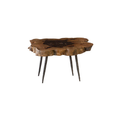Phillips Collection Wood Coffee Table, Forged Legs