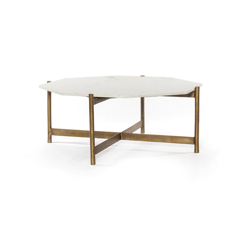 Awesome Four Hands Adair Coffee Table Raw Brass Polished White Marble Caraccident5 Cool Chair Designs And Ideas Caraccident5Info