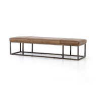 Four Hands Beaumont Leather Bench - Warm Taupe Dakota